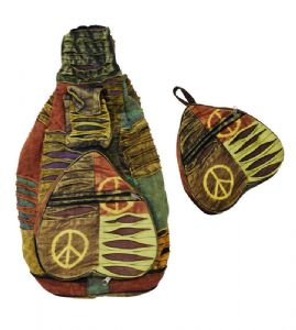 Hippy Rucksack~ Patchwork Heart Shape Layer Ripped Peace Sign Print Foldable Rucksack/Backpack~ Folio Gothic Hippy